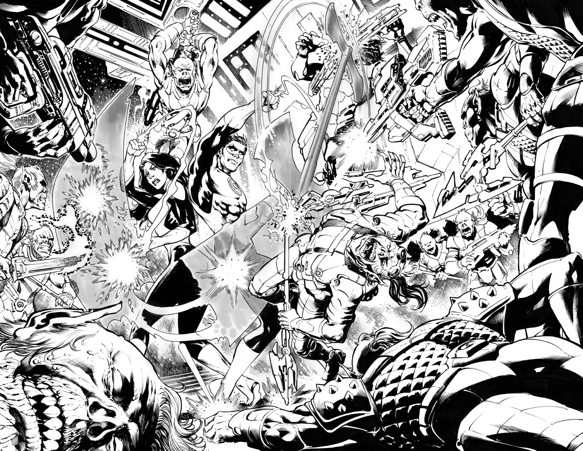 green-lanterns-53-54-original-art-fr